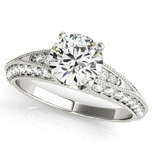 Aria Vintage Diamond Engagement Ring in 14K White Gold