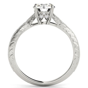Chloe Vintage Diamond Engagement Ring with Wedding Ring in 14K White Gold