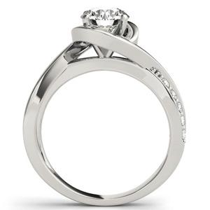 Lyre Modern Diamond Engagement Ring in 14K White Gold