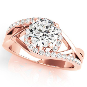 Adria Halo Diamond Engagement Ring in 14K Rose Gold