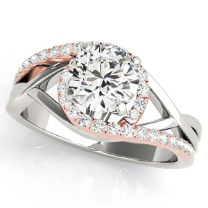 Adria Halo Diamond Engagement Ring in 14K White and Rose Gold