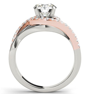 Adria Halo Diamond Engagement Ring with Wedding Ring in 14K White and Rose Gold