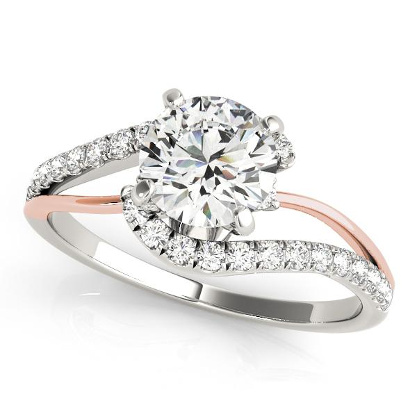 Evelyn Modern Diamond Engagement Ring in 14K White and Rose Gold