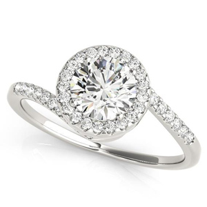 Naomi Halo Diamond Engagement Ring in 14K White Gold