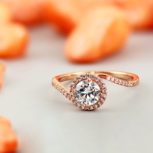 Naomi Halo Diamond Engagement Ring in 14K Rose Gold With 0.50ct. Round Diamond