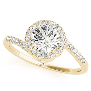 Naomi Halo Diamond Engagement Ring in 14K Yellow Gold