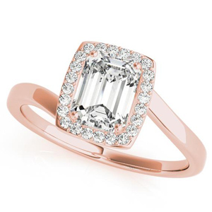 Serenity Halo Diamond Engagement Ring in 14K Rose Gold