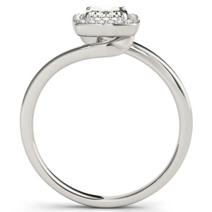 Serenity Halo Diamond Engagement Ring in 14K White Gold
