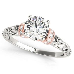 Adela Modern Diamond Engagement Ring in 14K White and Rose Gold