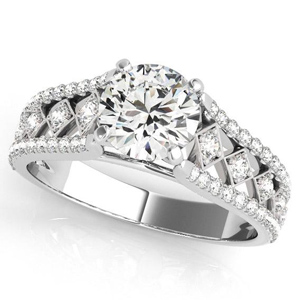 Claire Vintage Diamond Engagement Ring in 14K White Gold