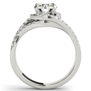 Alexis Halo Diamond Engagement Ring with Wedding Ring in 14K White Gold