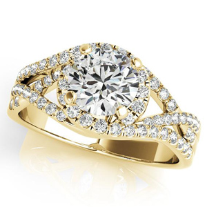 Alexis Halo Diamond Engagement Ring in 14K Yellow Gold