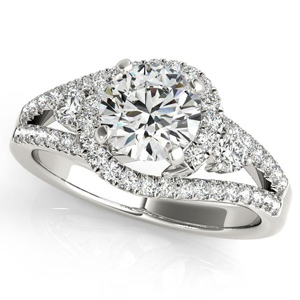 Emily Halo Diamond Engagement Ring in 14K White Gold