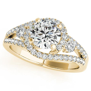 Emily Halo Diamond Engagement Ring in 14K Yellow Gold