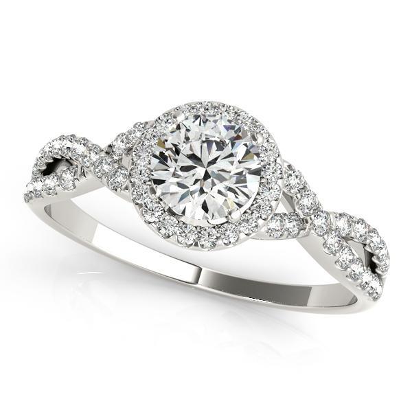 Charlotte Halo Diamond Engagement Ring in 14K White Gold