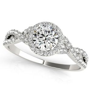 Charlotte Halo Diamond Engagement Ring in 14K White Gold