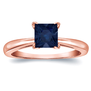 MERYL Blue Sapphire Solitaire Ring In 14K Rose Gold