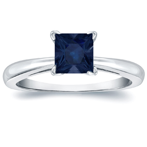 MERYL Blue Sapphire Solitaire Ring In 14K White Gold
