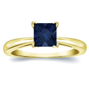 MERYL Blue Sapphire Solitaire Ring In 14K Yellow Gold