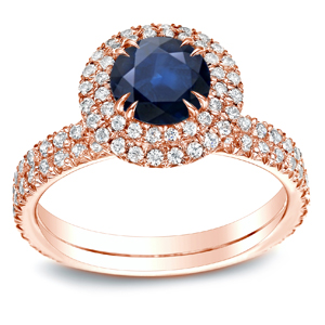 ELLIE Blue Sapphire Halo Engagement Ring In 14K Rose Gold