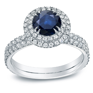 ELLIE Blue Sapphire Halo Engagement Ring In 14K White Gold