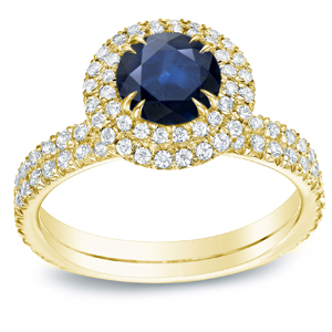 ELLIE Blue Sapphire Halo Engagement Ring In 14K Yellow Gold