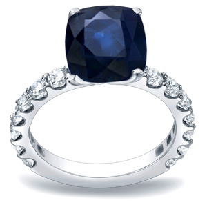ARIANNA Blue Sapphire Engagement Ring In 14K White Gold