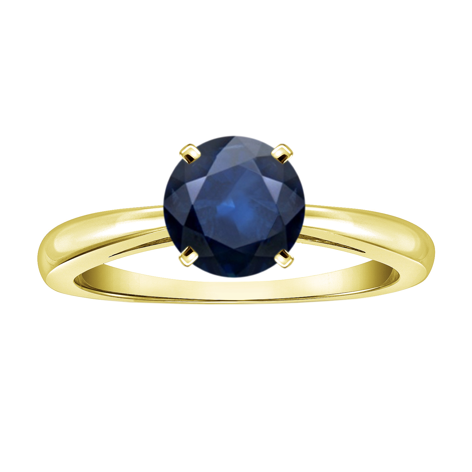 AMIE Blue Sapphire Solitaire Ring In 14K Yellow Gold