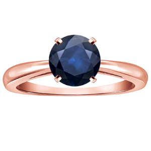 AMIE Blue Sapphire Solitaire Ring In 14K Rose Gold