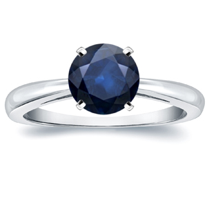 AMIE Blue Sapphire Solitaire Ring In 14K White Gold