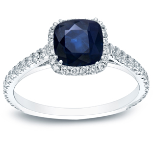PEYTON Blue Sapphire Engagement Ring In 14K White Gold