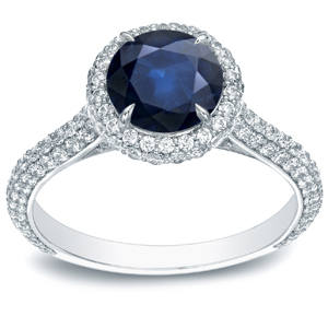 VANESSA Blue Sapphire Halo Engagement Ring In 14K White Gold