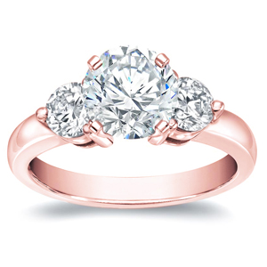 BAILEY Three Stone Engagement Ring In 14K Rose Gold