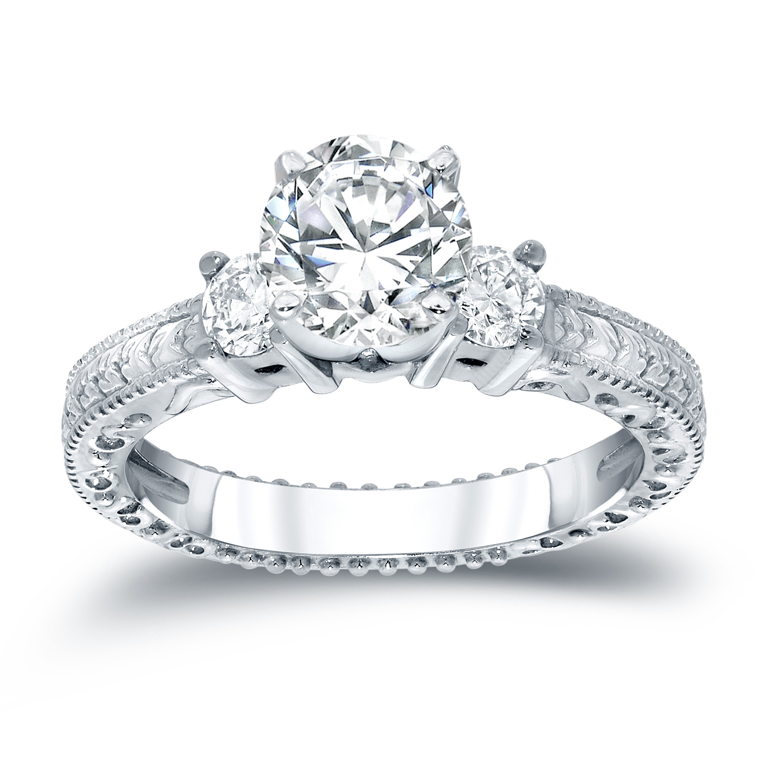 MADELYN Three Stone Engagement Ring In 14K White Gold