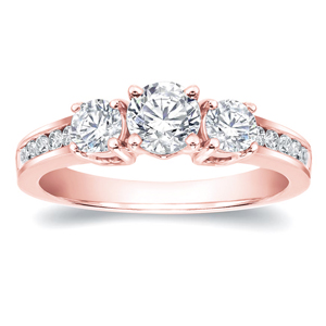 EMERSON Three Stone Engagement Ring In 14K Rose Gold