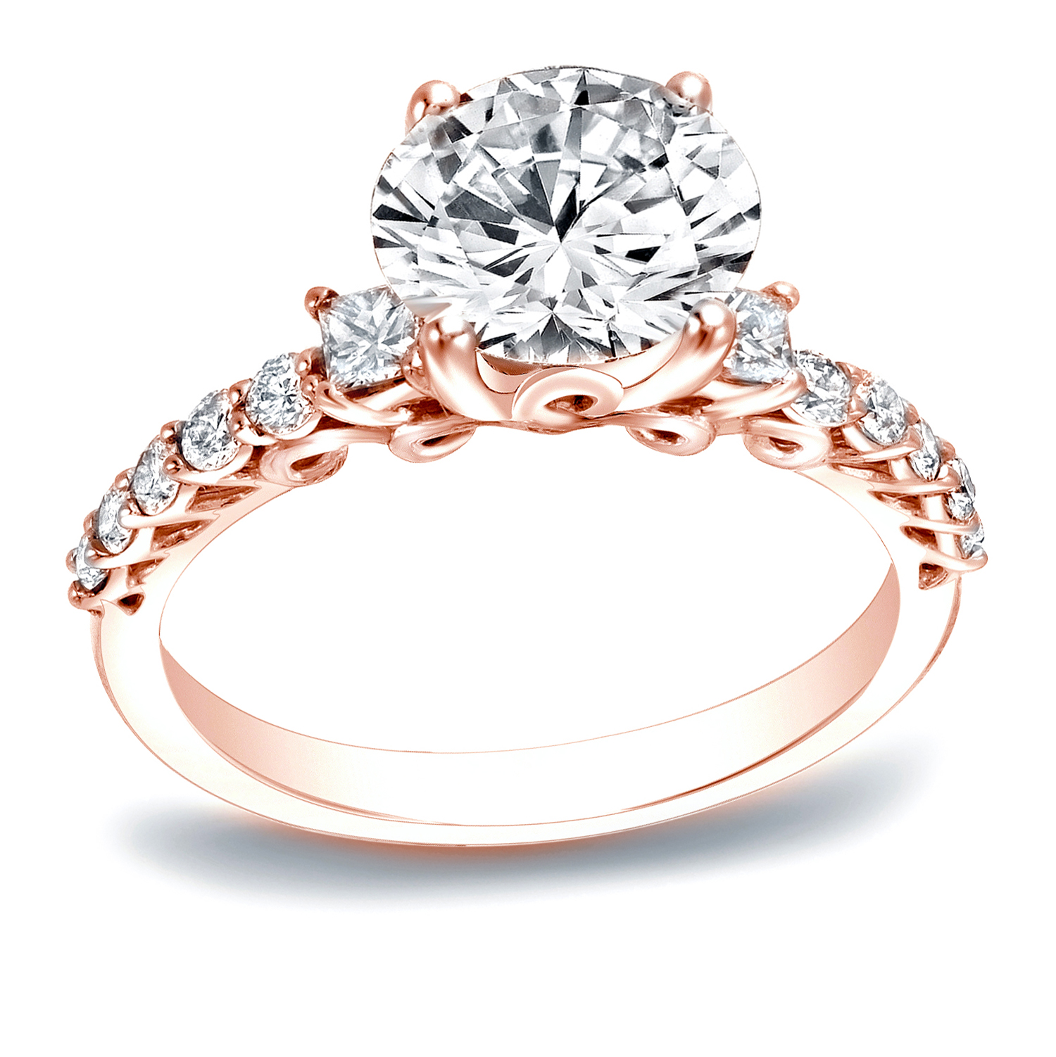 ARIANA Three Stone Engagement Ring In 14K Rose Gold