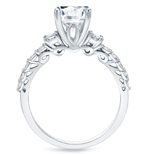 ARIANA Three Stone Engagement Ring In 14K White Gold