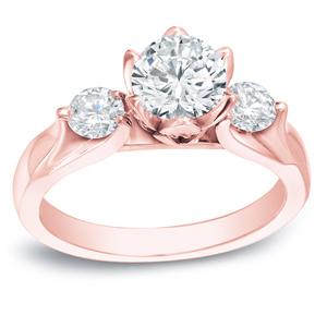 DANIELA Three Stone Engagement Ring In 14K Rose Gold