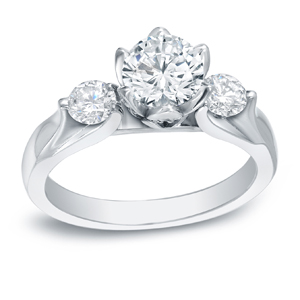 DANIELA Three Stone Engagement Ring In 14K White Gold