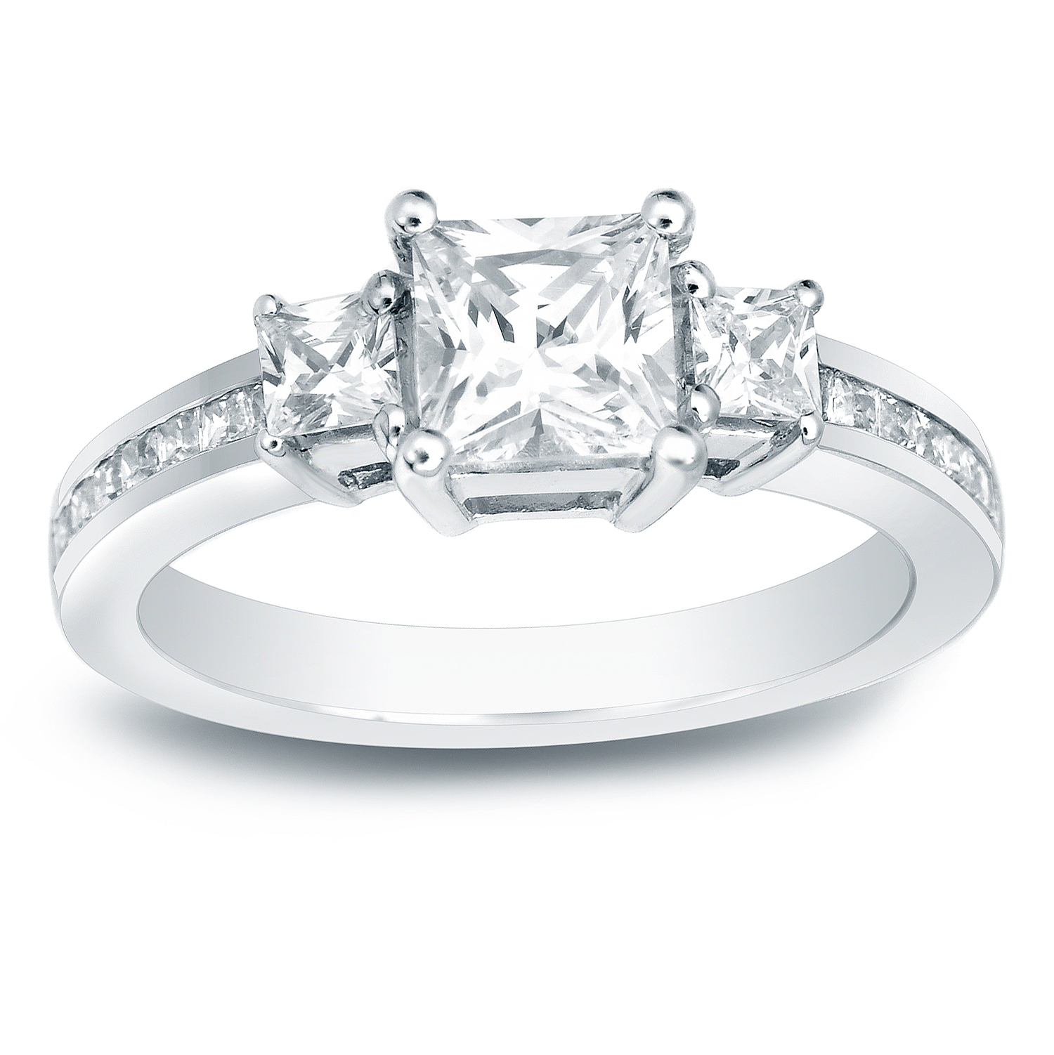 RYLEE Three Stone Engagement Ring In 14K White Gold