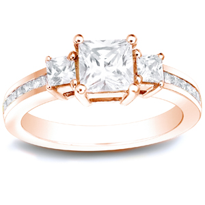 RYLEE Three Stone Engagement Ring In 14K Rose Gold