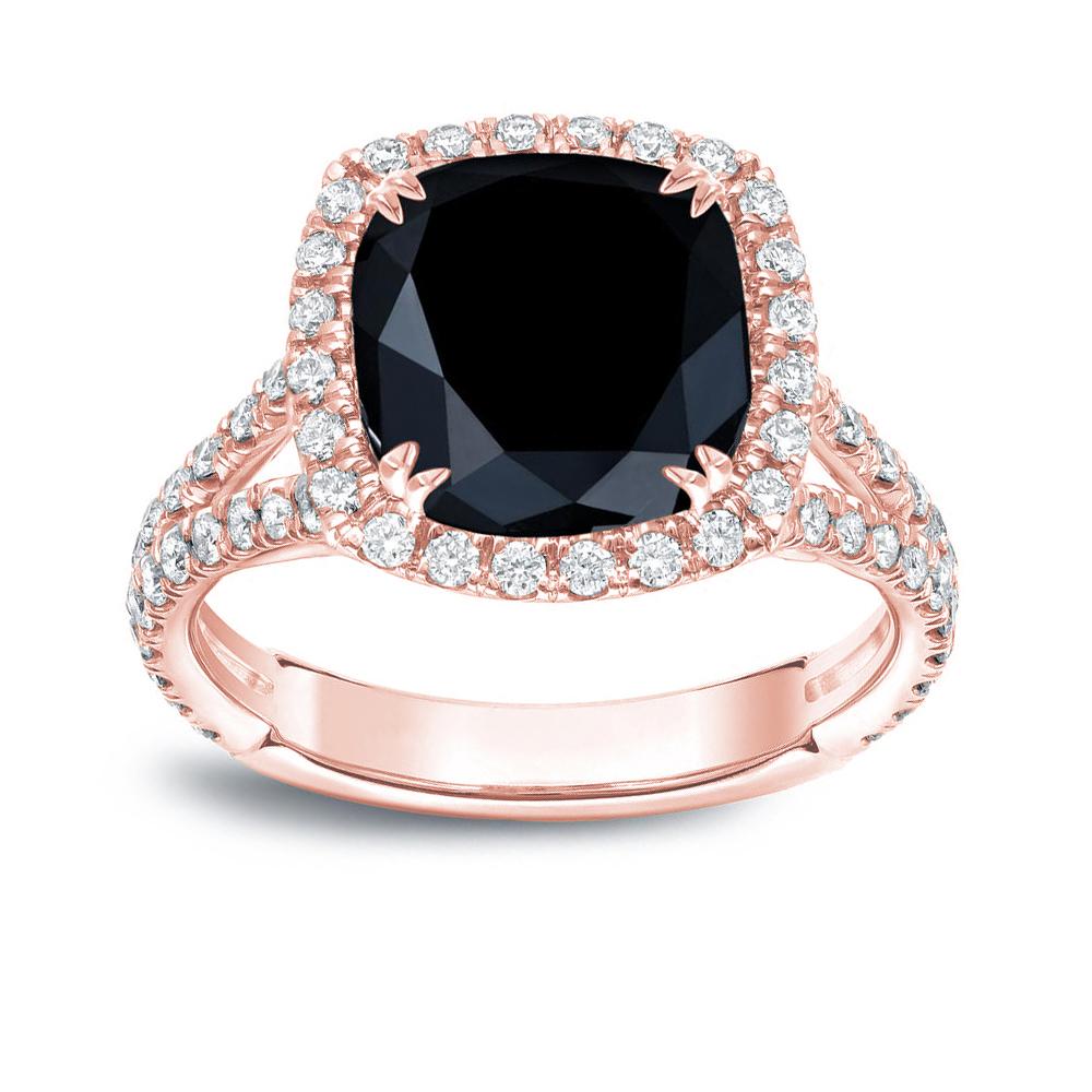 MAYA Black Cushion Cut Engagement Ring In 14K Rose Gold