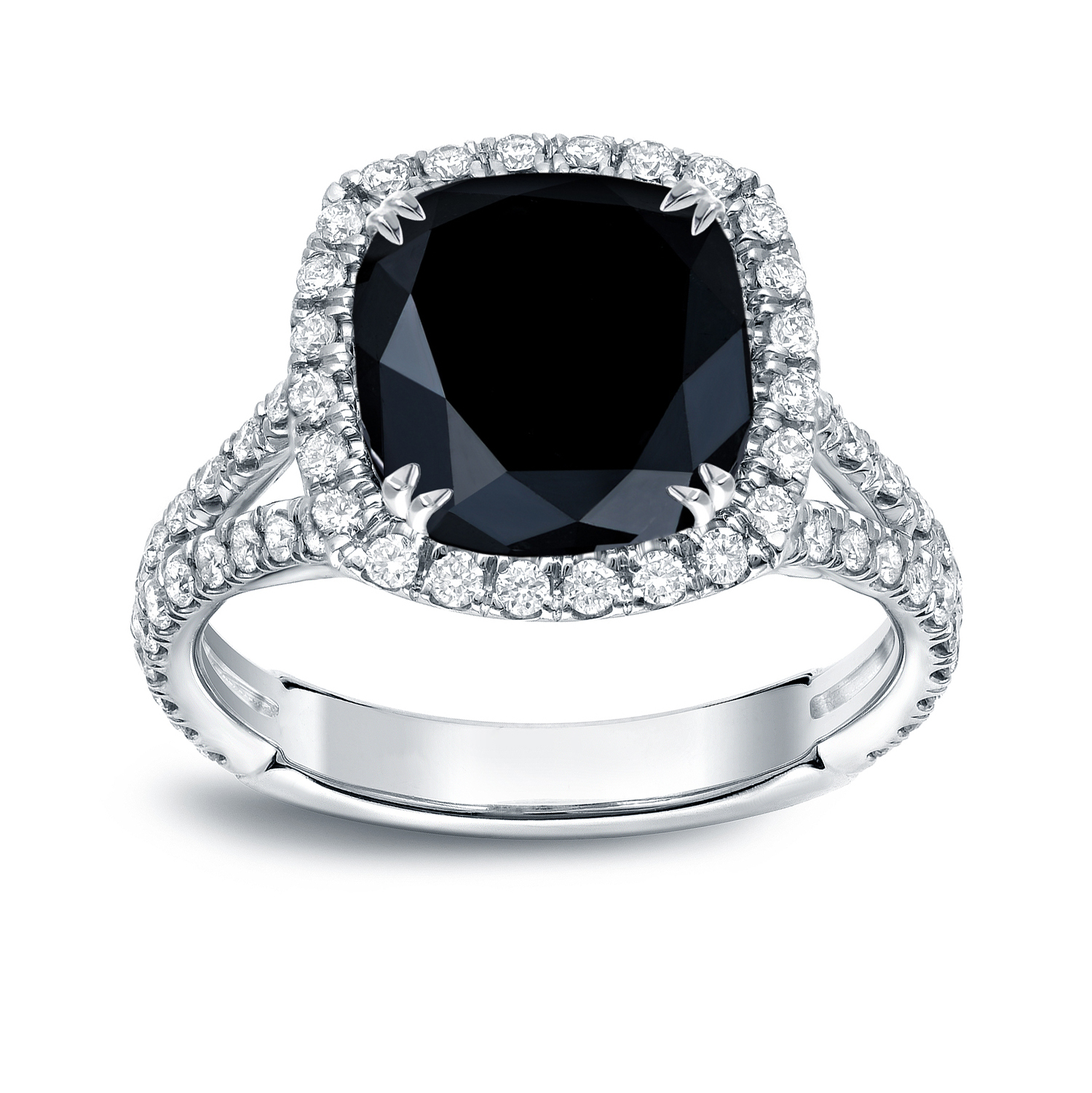 MAYA Black Cushion Cut Engagement Ring In 14K White Gold