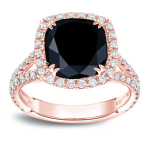 MAYA Black Cushion Cut Engagement Ring In 14K Rose Gold
