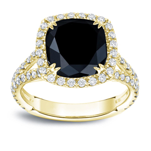 MAYA Black Cushion Cut Engagement Ring In 14K Yellow Gold