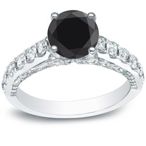 SADIE Black Diamond Engagement Ring In 14K White Gold
