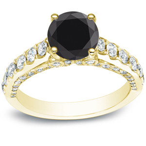 SADIE Black Diamond Engagement Ring In 14K Yellow Gold