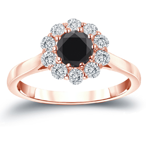 JOSEPHINE Black Diamond Halo Engagement Ring In 14K Rose Gold