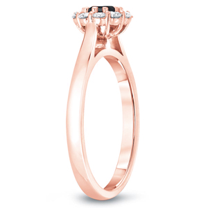 JOSEPHINE  Black  Diamond  Halo  Engagement  Ring  In  14K  Rose  Gold