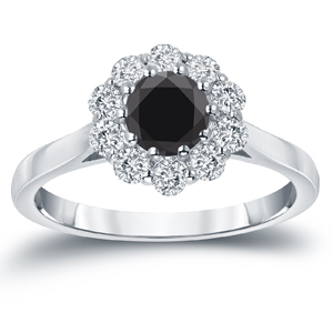 JOSEPHINE  Black  Diamond  Halo  Engagement  Ring  In  14K  White  Gold